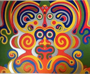 Henning Hansen, Serigrafi i farver, 1979 22/19 56 x 73 cm. 2000 kr.