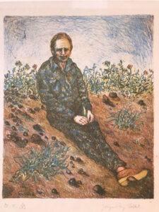 Jørgen Tang Holbek, Farveradering, 1974 27 x 22 cm. privat eje